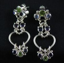 Sajen Moonstone Peridot Iolite Dangle Post Earrings Sterling Silver .925
