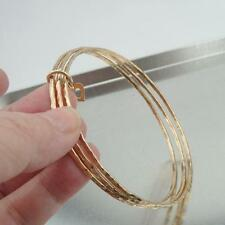 Hadar Designers Handmade Hammered 14k Gold Fi Three Bangle Heart Bracelet (V)
