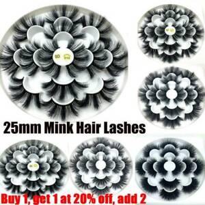 SKONHED 7 Pairs 25mm 6D Mink Hair False Eyelashes Thick Wispy Fluffy Lashes UK~
