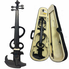 New 4/4 Electric Silent Violin + Case + Rosin + Head Set + Bow- Black Color