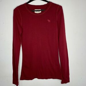 Red Abercombrie & Fitch Kids Long Sleeve Basic Top Tee - Brand New - Size S L