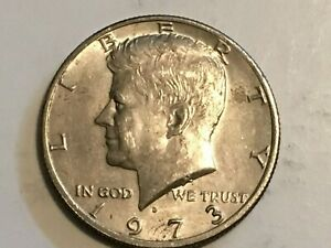 1973 D Kennedy Half Dollar error coin reverse machine doubling United, Dollar, O