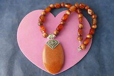 """Superb Necklace With Brown Agate And Sunstone Gemstones 16"""" Long In Gift Box"""