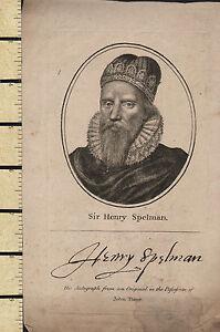 C1795 Géorgien Imprimé~ Sir Henry Spelman Avec Facsimilie Signature