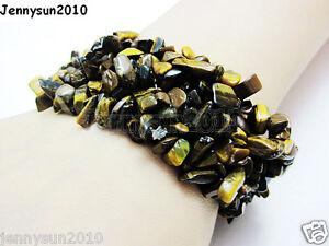 30mm Wide Natural Gemstone Chip Nugget Beaded Stretchy Bracelet Reiki Chakra
