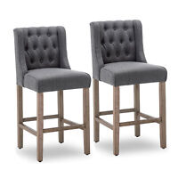 """Set of 2 Gray 40"""" Tufted Wingback Fabric Upholstered Barstool Dining Chair"""