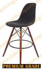SKDL Replica Eames DSW Kitchen Stool - Grey Charcoal Fabric & Walnut Legs