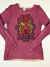 CAbi Top Long Sleeve Large T Shirt Scoop Neck Shield Coat of Arms Purple