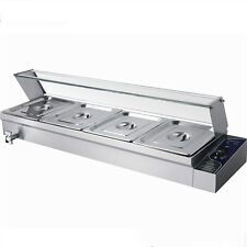 4 Pan Wet Well Bain Marie Stainless Steel 1/2  Pan Temp Catering Commercial