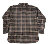 L.L. Bean Men's Chamois Cloth Shirt Brown Plaid Button Up Flannel Size M Tall
