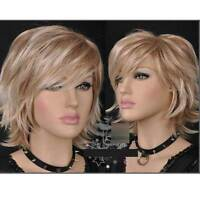 HELLOJF1358 new popular fashion short blonde mixed curly hair wig wigs for women