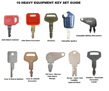10 Heavy Construction Equipment Ignition Key Set Caterpillar Case JD Komatsu +++