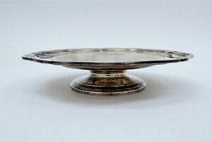 """Cartier 950 Sterling Silver Footed Appetizer Dish Tray Plate w/ Box 7.25"""" C1155"""