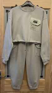 ADIDAS ORIGINALS. Cargo Joggers & Cropped Oversized Sweatshirt Set. Size Uk 10.