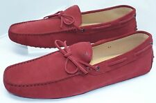 New Tod's Men's Shoes Red Loafers Driver Size 12 Moccasin Suede