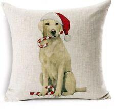 Labrador Retriever Dog With Candy Canes Cushion Cover Christmas Decor AU Stock
