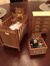 Doll House Miniatures Nursery Crib Set Wood, Crib, Dresser Toybox Toys Dollhouse