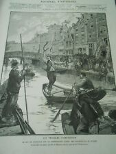 Amsterdam The game of eel sur Le lindengracht Engraving 1886