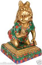 "Baby Krishna Laddoo Gopala Golden Figure 8"" Brass Stone Art Hindu GOD Statue 2KG"