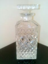 Heavy Cut Glass Lead Crystal Square Spirit Decanter With Stopper Ex Condition