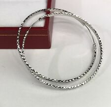 18k Solid White  Gold Cute Hoop Earrings 40mm .Diamond Cut Design. 2.40 grams