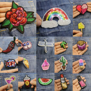 Sequin Rianbow Rose Cake Embroidery Sew On Iron On Patch Badge Fabric Applique