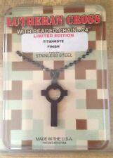 Gi Jewelry, Us Military Lutheran Cross Black Titan-Coat Subdued Necklace Pendant