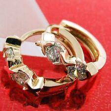 EARRINGS HUGGIE HOOPS REAL 18K ROSE G/F GOLD DIAMOND SIMULATED DESIGN FS3AN557