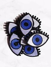 Eye ball iron on embroidered patch. Blogger/DIY/90s denim jacket accessory