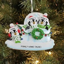 Igloo Penguin Family of 3 Personalized Christmas Tree Ornament Holiday Gift 2017