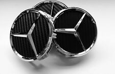 4 X Mercedes Benz 75mm Centre Wheel Caps Alloy Chrome/CARBON AMG/SL/C/E/S/A