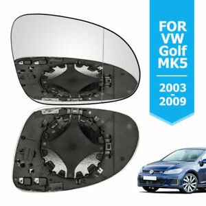 Right Passenger Side Wing Mirror Glass HEATED VW Golf 5 MK5 2003-2008