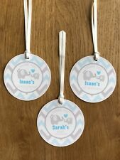 Elephant Thank You Gift Tag~Blue Personalised Birthday, Baby Shower, Christening