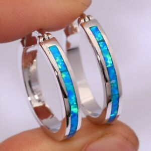 WOW NEU Edle 926 Silber  Ohrringe, Creolen, blaue Feueropal