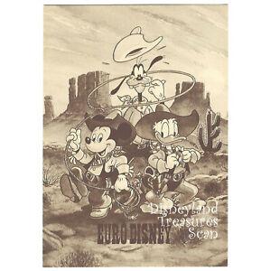 Euro Disney Unused Postcard 1992 Mickey Donald Goofy Western Attire Sepia Tone