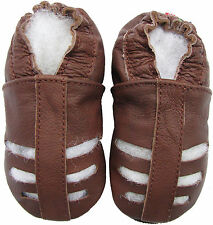 new soft sole leather baby sandals brown 0-6m