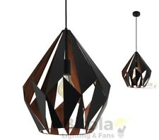 NEW EGLO CARLTON 1 LARGE CEILING PENDANT LIGHT - BLACK METAL WITH COPPER 49878
