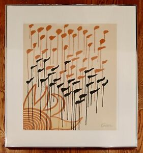 Mid Century Modern Framed Signed Alexander Calder A.P. Lithograph Sun Orange