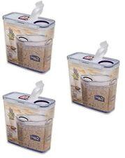 3 x lock & lock nourriture conteneur de stockage rectangulaire avec couvercle flip top 3,4 L de céréales