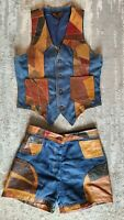 Vtg ROSEMARY LEATHER PATCHWORK SET Denim Shorts Sz 9/10  & Matching Vest Sz S