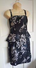 H&M Grey Floral Peplum Dress Removable Straps Strapless UK Size 14 Cocktail