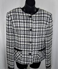 Charles Gray London Women's Jacket Sz 12 Tweed Blazer Black & White England Made