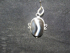 B/W Agate Pendant 20mm to 40mm In Silver Healing Crystal Birthday Gift