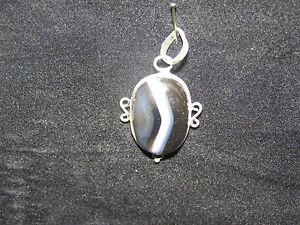 Beautiful Agate Gemstone Pendant 20mm - 40mm In 925 Silver Birthday Gift