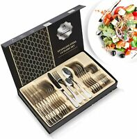 24PC Silverware Set Stainless Steel Cutlery Flatware Service For 6 Home Kitchen