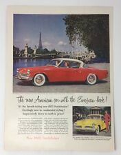Original Print Ad 1953 STUDEBAKER in France Eiffel Tower 2 Door Red Yellow