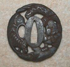 Signed Edo Period Iron Japanese Tsuba Horse, Peasant and Straw Bales design