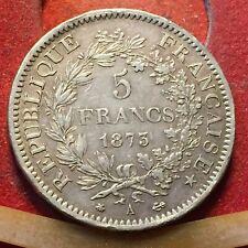 MONETA REPUBBLICA FRANCESE 5 FRANCHI 1873 IN ARGENTO 900 PESO 25 GRAMMI