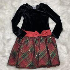 NWOT BONNIE JEAN Girls Size 14 Dress Black Velvet Christmas Plaid Metallic Dots