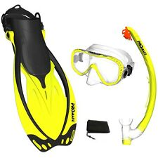 Promate Snorkeling Mask Fins Dry Snorkel Mesh Bag Dive Gear Set Package Gift